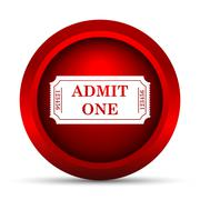 Stock Illustration of Admin one ticket icon. Internet button on white background..