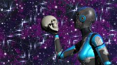 Futuristic Female Android in Deep Space holding human skull Stock Illustration