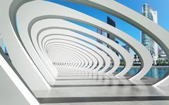 Futuristic exterior structure under arcs on river - stock illustration