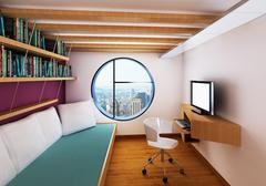 modern room interior with pc desk, bed and high view - stock illustration