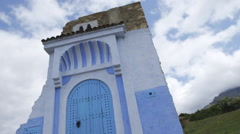 Chefcaouen's Blue Door, Moroccan landmark Stock Footage