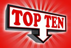 Stock Illustration of top ten sign with arrow