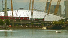 O2 arena and the Emirates Air Line, Canary Wharf Stock Footage