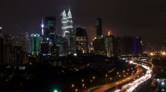 Time Lapse - Kuala Lumpur city at night with car light trails. Stock Footage