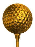 golf ball gold on tee - stock illustration