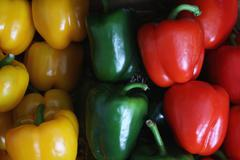 mixed capsicum peppers - stock photo