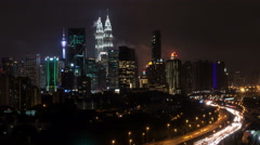 Time Lapse - Kuala Lumpur city at night with car light trails Stock Footage