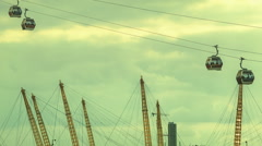 Emirates Air Line, O2 arena and the sky in London - stock footage