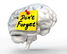 do not forget reminder note on brain - stock illustration