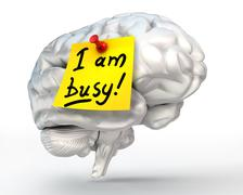 I am busy yellow note paper on brain Stock Illustration