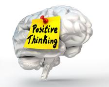 Positive thinking note paper on brain Stock Illustration
