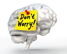 No worry note paper on brain Stock Illustration