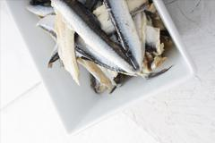 Cured anchovy fillets Stock Photos