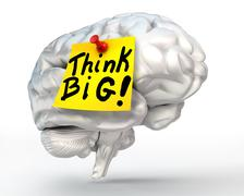 Think big note paper on brain Stock Illustration