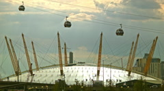 O2 arena and the Emirates Air Line, London Stock Footage