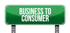 Stock Illustration of business to consumer road sign concept