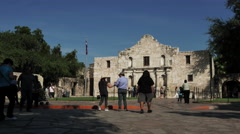 4K Alamo Mission with tourists - stock footage