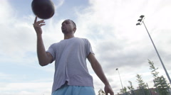 4K Portrait of young sports player showing off his ball control skills.  - stock footage