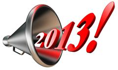 New year 2013 in megaphone Stock Illustration