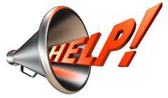 help orange word in bullhorn - stock illustration