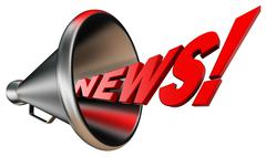 News red word and metal bullhorn Stock Illustration