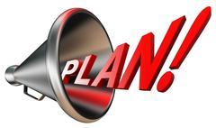 plan red word in bullhorn - stock illustration