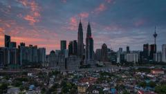 Time Lapse: Kuala Lumpur Sunrise Time Lapse. Camera Zoom In Stock Footage