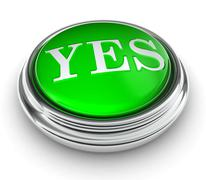 Stock Illustration of yes word on green button