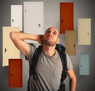 Choose door - stock photo