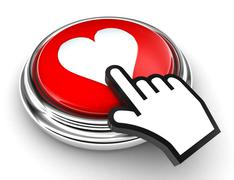 love heart red button and pointer hand - stock illustration