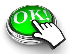 Ok red button and pointer hand Stock Illustration