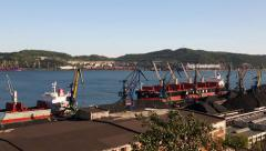 Port moorings in Nakhodka. Primorsky Kray, Russia - stock footage