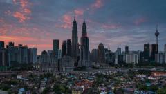Time Lapse: Kuala Lumpur Sunrise Time Lapse. Camera Pan Right to Left Stock Footage