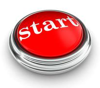 Start word on red push button Stock Illustration