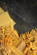 Stock Photo of uncooked pasta selection
