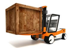 fork lifter transporting wooden crate - stock illustration