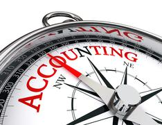 Accounting red word on concept compass Stock Illustration