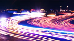 Long exposure timelapse, Chicago highway at night Stock Footage