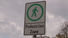 Pedestrian only zone sign in Toronto - stock footage