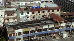 Poor city ghetto poverty old destroyed buildings city centre area asia 4k Stock Footage
