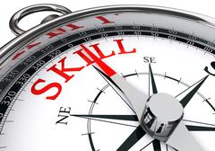 Stock Illustration of skill red word on concept compass