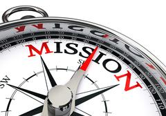 Mission the way indicated by concept compass Stock Illustration