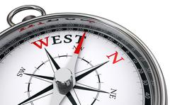 west word indicated by compass - stock illustration