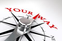your way conceptual compass rose - stock illustration