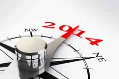 new year 2014 compass rose - stock illustration
