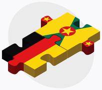 Germany and Grenada Flags - stock illustration