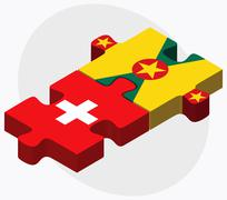Switzerland and Grenada Flags - stock illustration