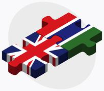United Kingdom and Gambia Flags Stock Illustration