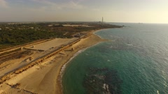 CAESAREA, ISRAEL - 4k view of the Roman aqueduct by the Mediterranean Sea Stock Footage