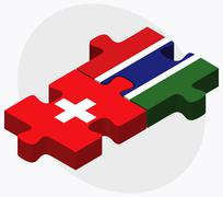 Switzerland and Gambia Flags Stock Illustration